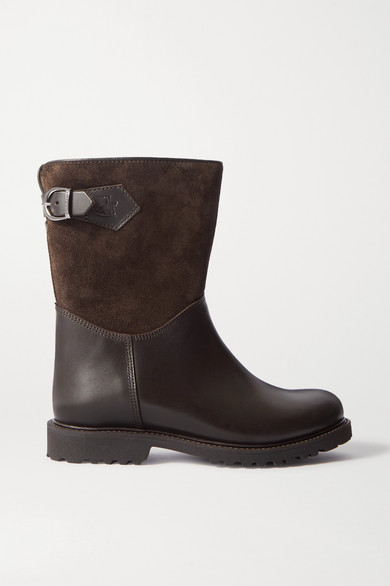 Ludwig Reiter Sennerin Shearling-lined Leather And Suede Ankle Boots In Brown