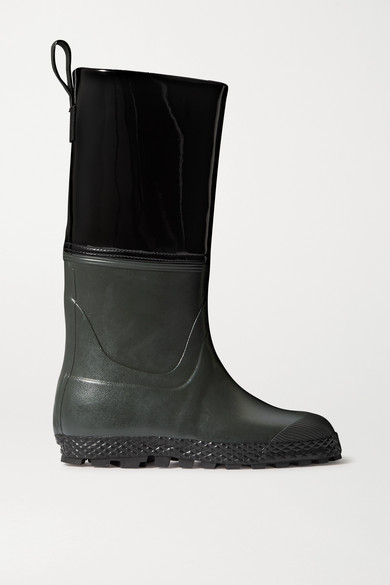 Ludwig Reiter Gardener Rubber And Patent-leather Rain Boots In Black