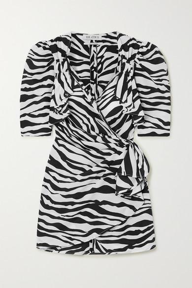 Attico Zebra-print Puff-sleeve Crepe Mini Wrap Dress In Zebra Print