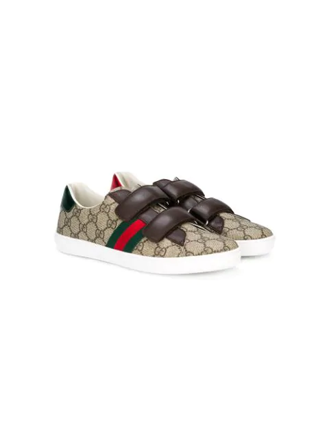 Gucci New Ace Gg Supreme Canvas Web-trim Sneakers, Kids In Brown