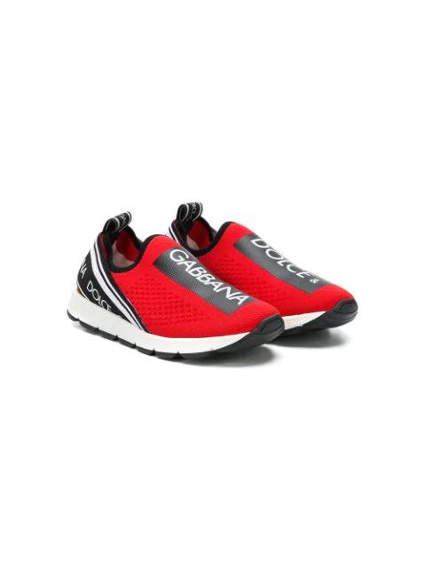 Dolce & Gabbana Kids' Sorrento Logo Slip-on Sneakers In Red