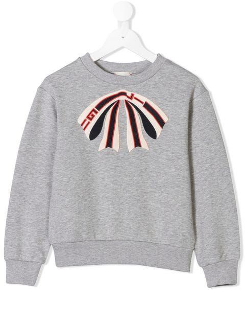 Gucci Kids' Grey Sweatshirt For Girl With Patch Shaped Like Bow