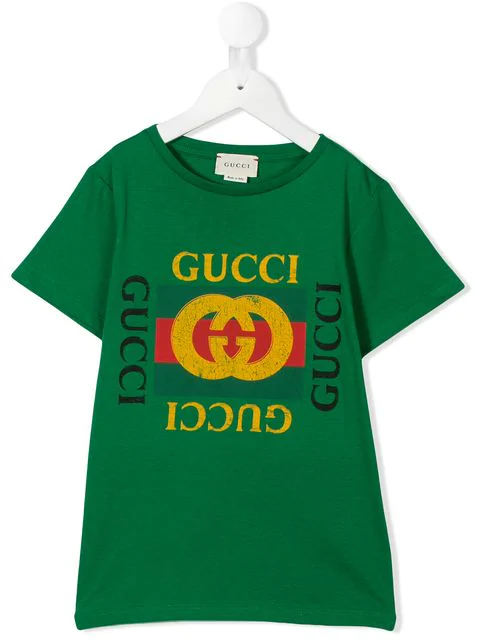 Gucci Kids' Logo T-shirt In Green
