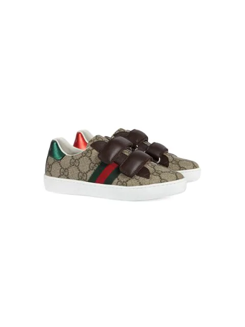 Gucci Kids' Gg Supreme Canvas & Leather Sneakers In Brown