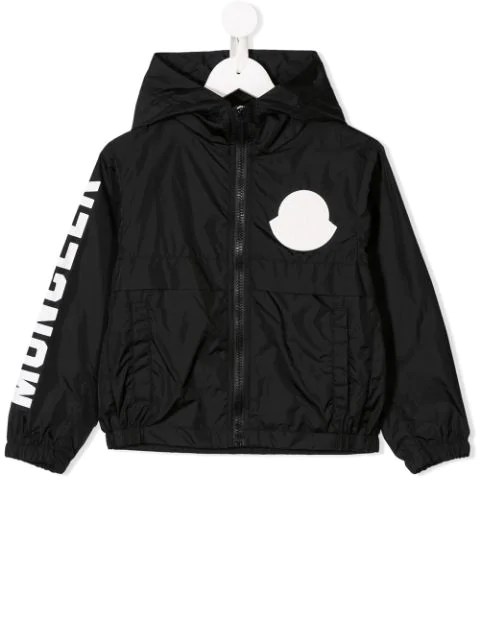 Moncler Kids' Logo Hooded Rain Jacket In Black