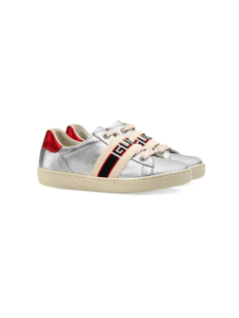 Gucci Kids' Ace Metallic Leather Sneakers In Silver