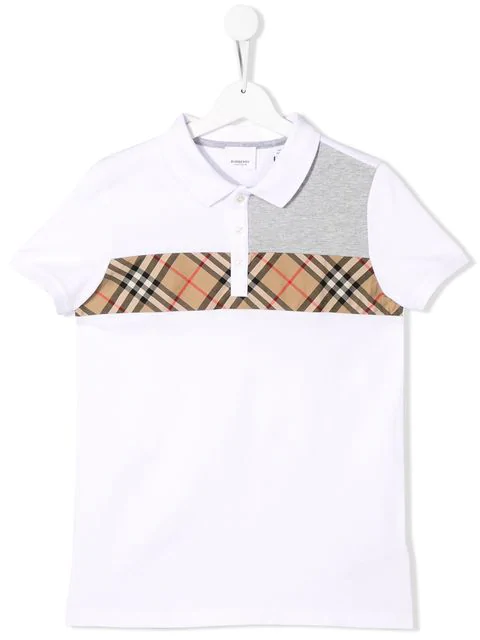 Burberry Kids' Vintage Check Cotton Polo Shirt In White