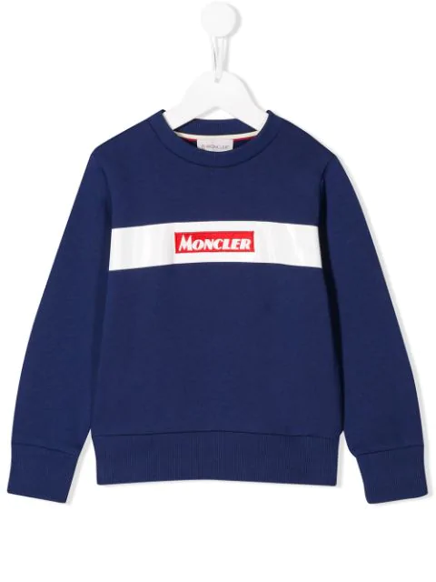 Moncler Kids' Logo Patch Cotton Sweatshirt In Blue