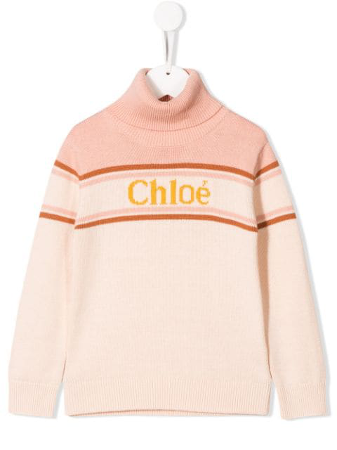 Chloé Kids' Intarsia Cotton And Wool Sweater In Pink