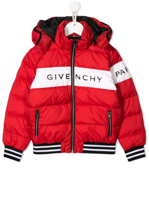 Givenchy Kids' Logo印图尼龙蓬松夹克 In Red