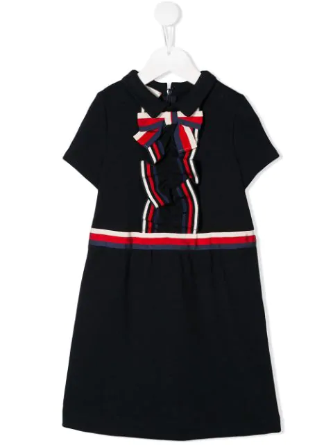 Gucci Kids' Girls' Short-sleeve Collared Dress W/ Ribbon Detail In Blue