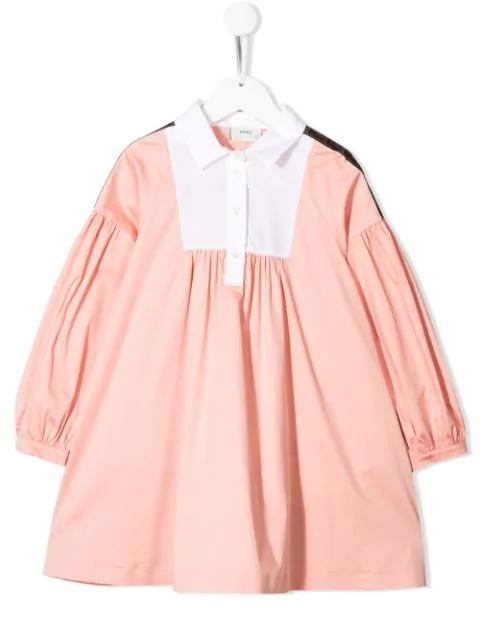 Fendi Kids' Cotton Blend Poplin Shirt Dress In Pink