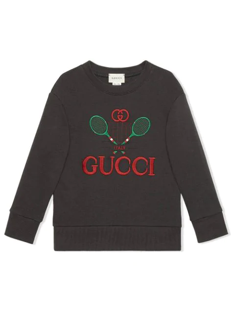 Gucci Kids' Tennis Logo Embroidered Cotton Sweatshirt In Grey