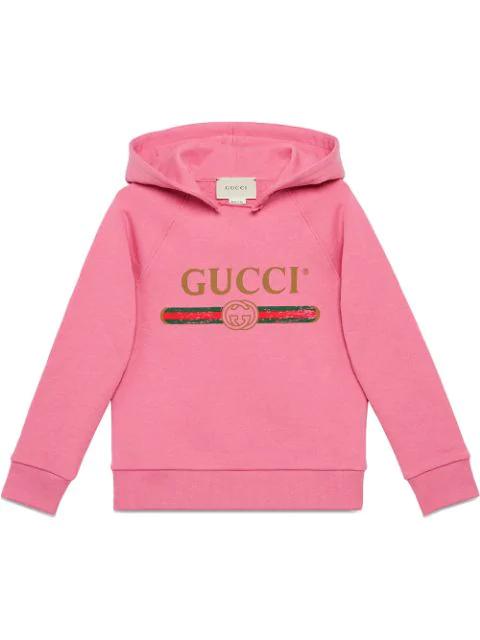 Gucci Vintage Logo Hooded Sweatshirt In Pink