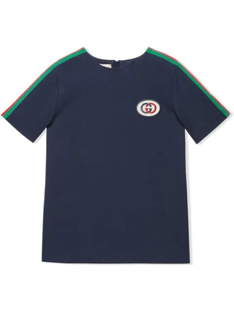 Gucci Kids' Short-sleeve Jersey T-shirt W/ Web Trim Sleeves In Blue