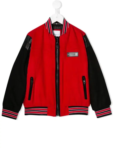 Givenchy Kids' Bomber Style Jacket With Embroidery In Red
