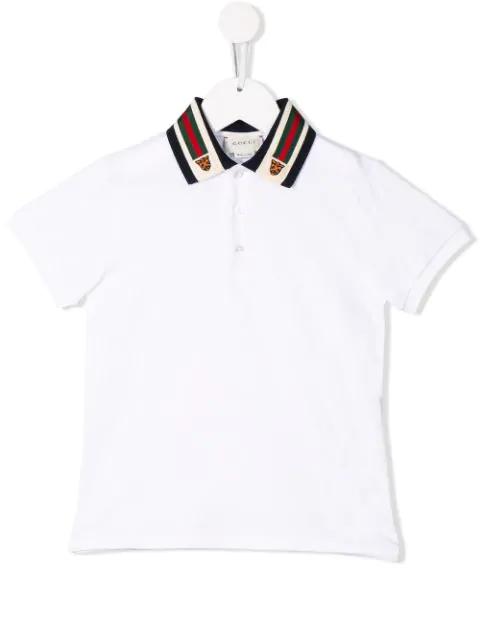 Gucci Kids' Tiger Web Collar Polo In White