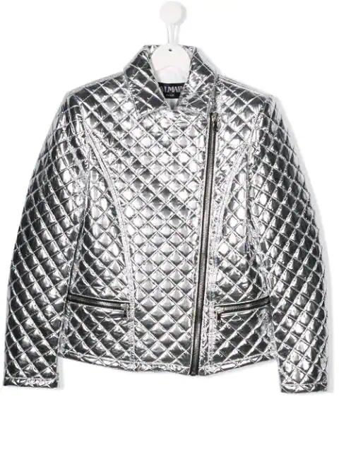 Balmain Teen MatelassÉ Silver Jacket