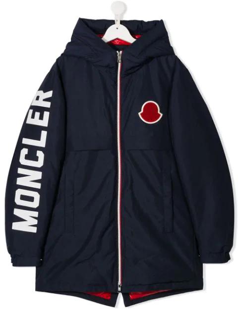 Moncler Kids' Logo Patch Jacket In Blue