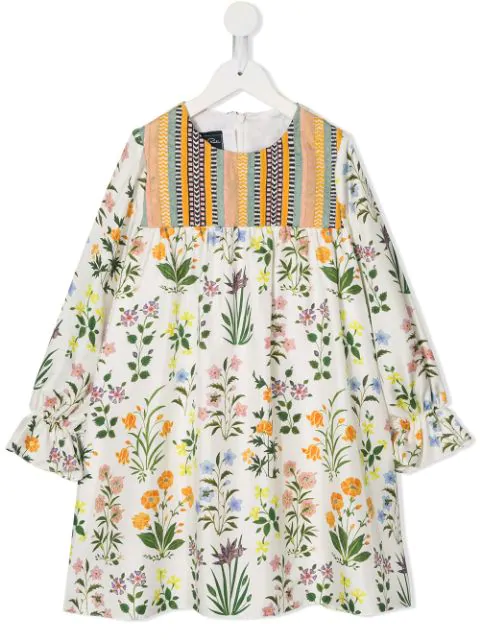 Oscar De La Renta Kids' White Dress For Girl With Colorful Flowers And Details