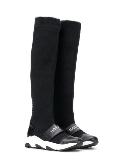 Balmain Kids' Leather-trimmed Boots In Black