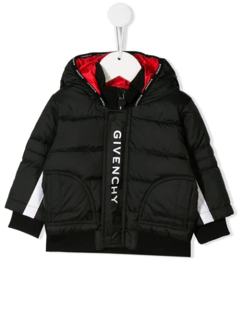 Givenchy Babies' Logo印花衬垫大衣 In Black