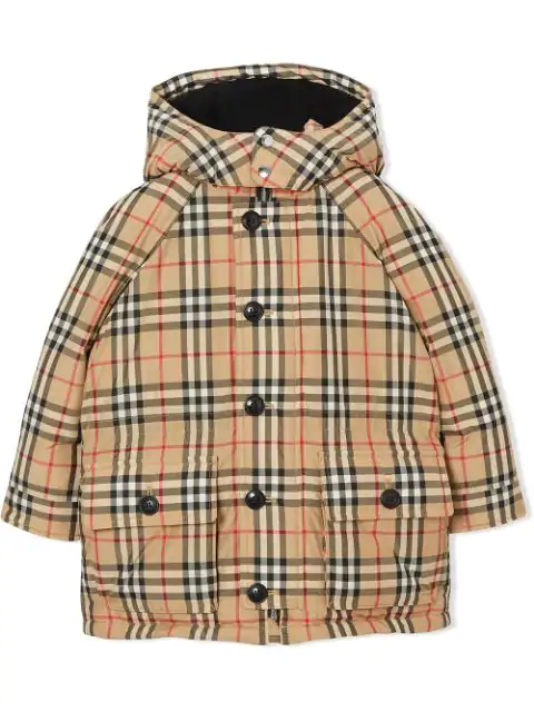 Burberry Girls' Vintage Check Down-filled Hooded Puffer Jacket - Little Kid, Big Kid In Neutrals