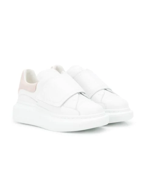 Alexander Mcqueen Oversized Grip-strap Leather Sneakers, Toddler/kids In White