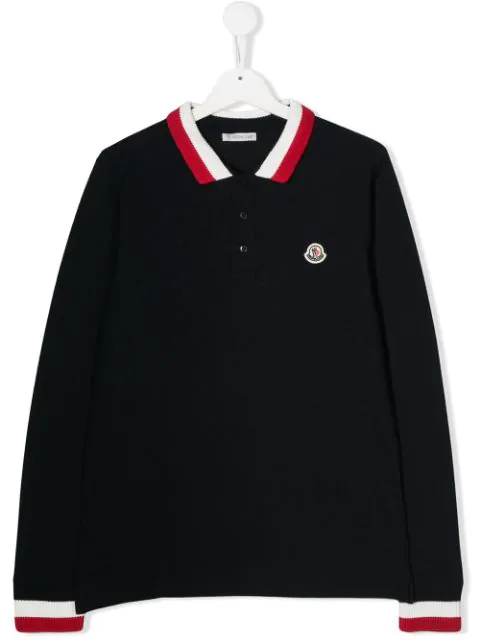 Moncler Teen Striped Detail Polo Shirt In Blue