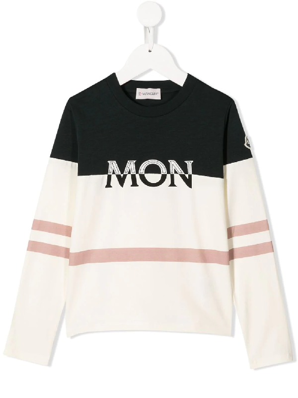 Moncler Kids' Embroidered Logo Long Sleeve Top In White