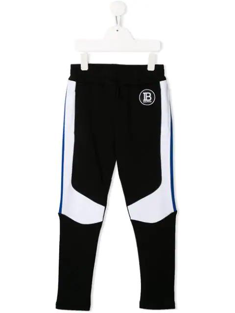Balmain Kids' Contrast Panelled Sweatpants In Black