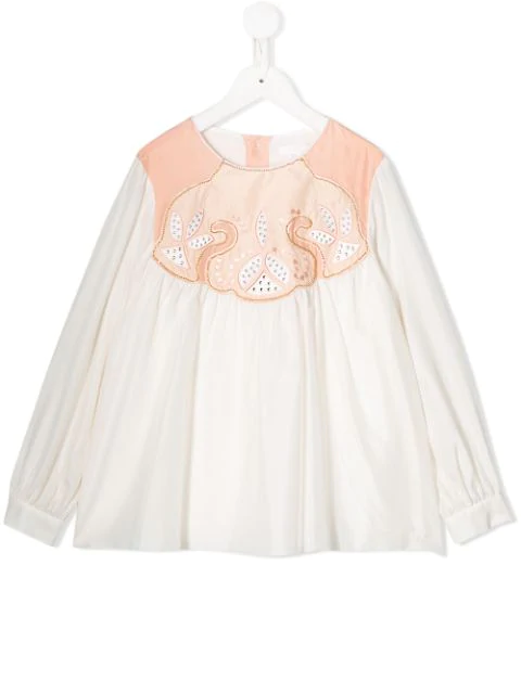 Chloé Kids' Pink And White Blouse For Girl With White Logo