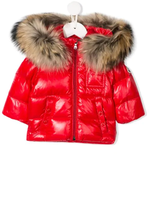 Moncler Babies' Faux-fur Hooded Puffer Jacket In Red