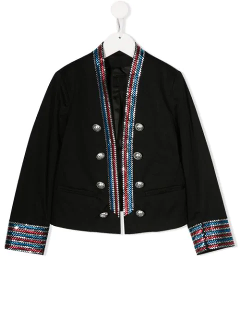 Balmain Kids' Black Girl Iconic Jacket With Colorful Stripes