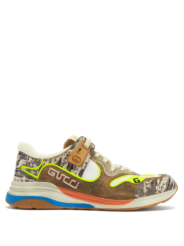 Gucci Ultrapace Distressed Suede, Mesh And Snake-effect Leather Sneakers In Beige