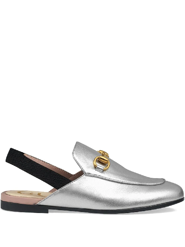 Gucci Kids' Children's Princetown Leather Slipper In Grey