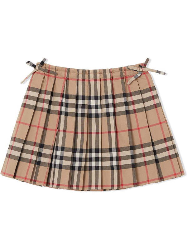 Burberry Girls' Mini Pearly Vintage Check Pleated Skirt - Baby In Neutrals