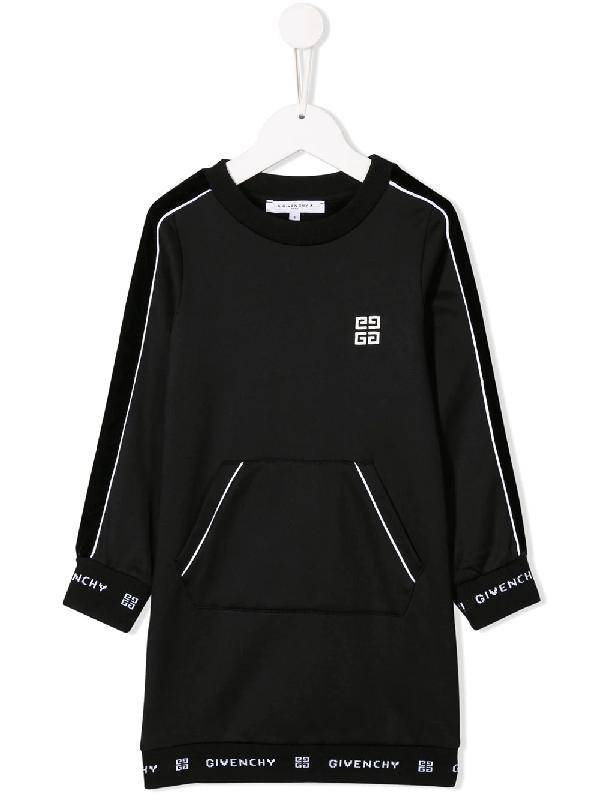 Givenchy Kids' Black Cotton Blend Sweatshirt Dress