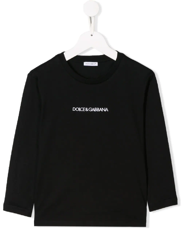 Dolce & Gabbana Kids' Embroidered Logo Cotton Jersey T-shirt In Black