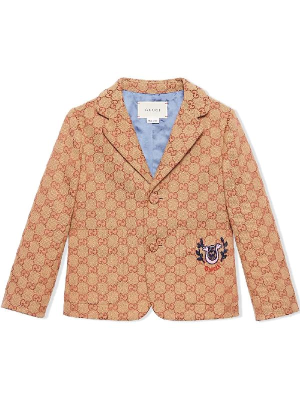 Gucci Kids' Children's Gg Canvas Jacket With Lyre In Neutrals