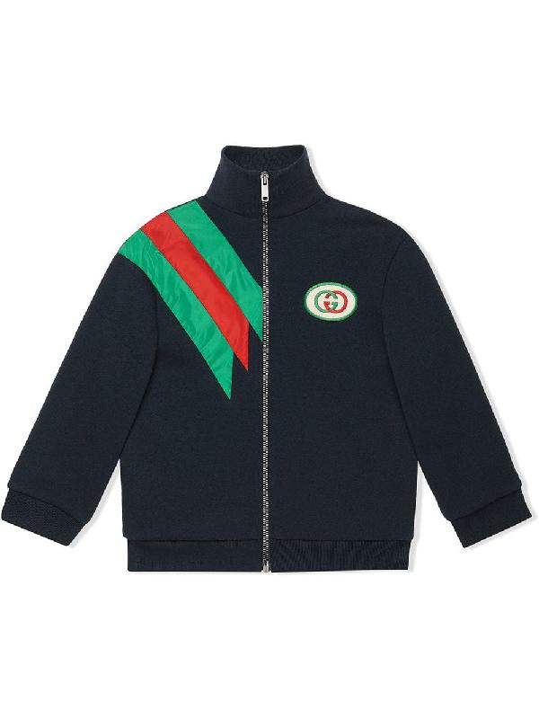 Gucci Kids' Zip-up Sweatshirt W/ Contrast Striping In Blue