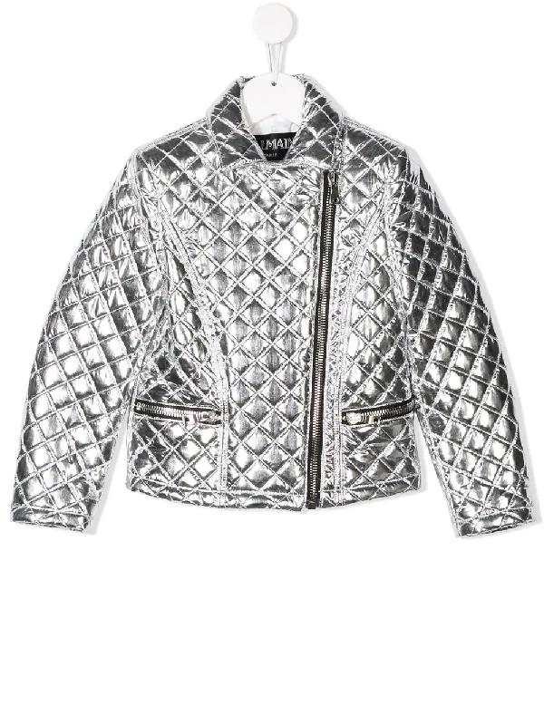 Balmain Kids' 绗缝夹克 In Silver