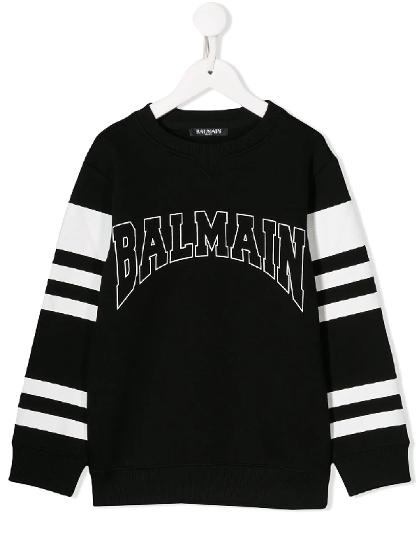 Balmain Kids' Black Cotton Blend Sweatshirt