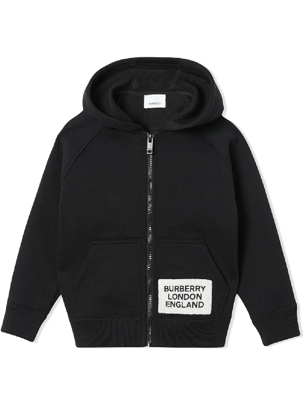 Burberry Kids' Luther Logo Cotton-blend Hoodie In Black