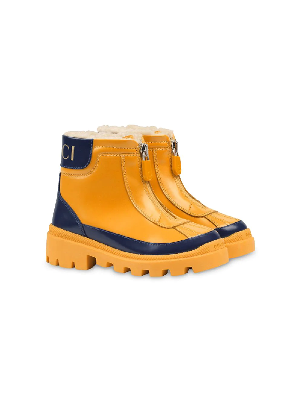Gucci Kids' Children's Leather Boot With Faux Fur Lining In Yellow