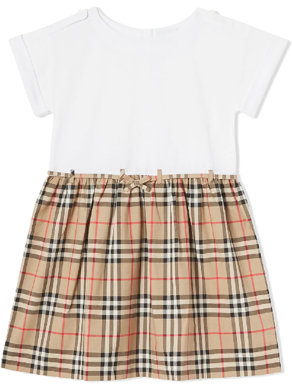 Burberry Teen Kleid Mit Vintage-check In White