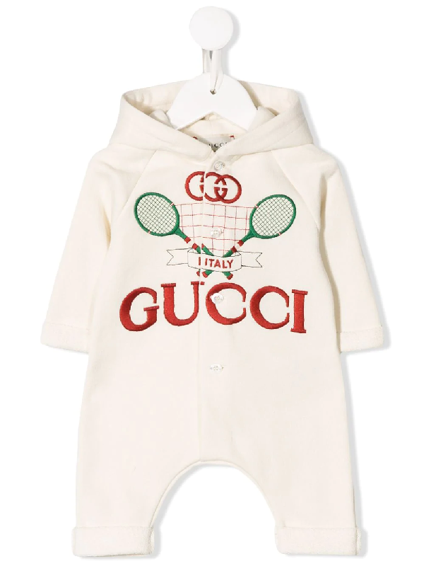 Gucci Babies' Embroidered Logo Hooded Romper In White