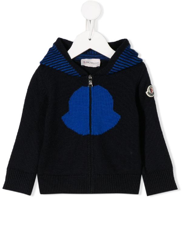 Moncler Babies' Newborn Black Cardigan In Blue