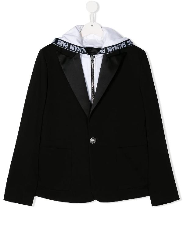 Balmain Kids' Branded Hybrid Hoodie Blazer In Black