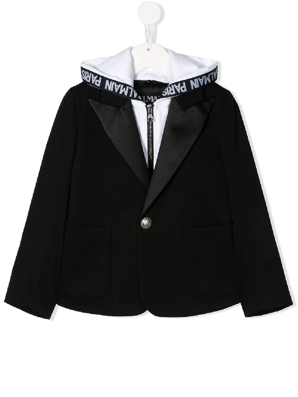 Balmain Kids' Hooded Cotton Gabardine Jacket In Black